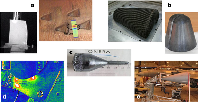 "a. Detection of cracks in turbine blades by ultrasonic vibrothermography and ""Flying Spot"" photothermic radiometry b. Development of processes for producing low-cost ceramic matrix composites for missile nose cones c. Production of ZnGeP2 single crystals for non-linear optics d. Tracking damage in composite structures under mechanical load by IR thermography e. Non-destructive control by laser vibrometry of Rafale radomes in operational conditions"