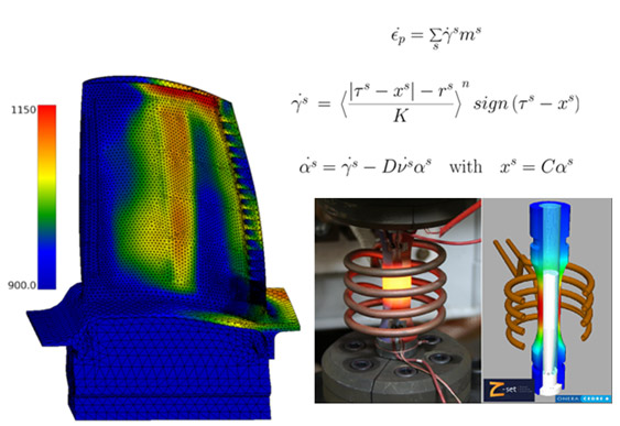 Technological fatigue tests with heat gradient of surfaces for validating the modeling tools (behavior law and damage model) which are developed for estimating the service life of a high-pressure turbine blade