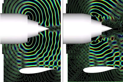View of the acoustic propagation in the median plane of the nozzle [static state, on the left; take-off state, on the right]