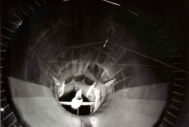 "The 1500 ""Griffon"", viewed from the settling chamber of the S1MA wind tunnel"